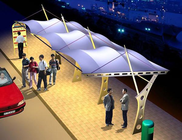 膜结构公交站雨棚