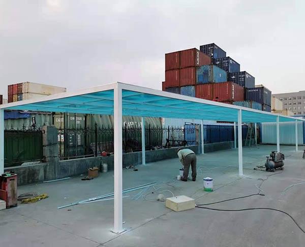黄岛辉门火花塞厂车棚安装完成